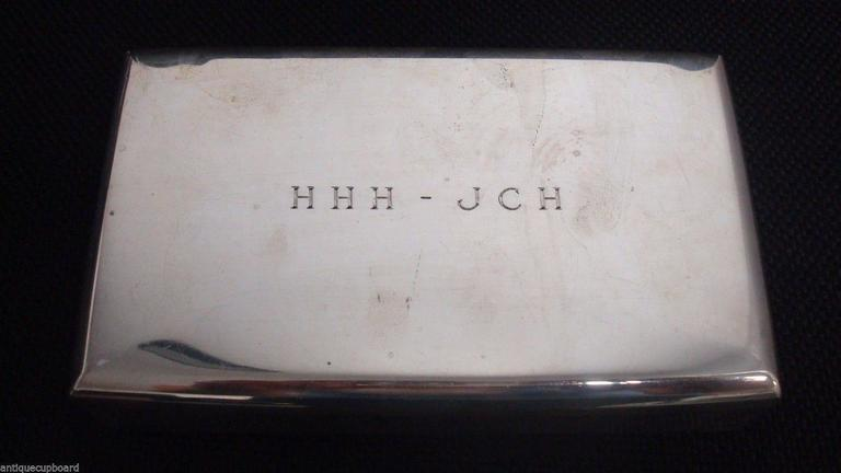 Mid-20th Century Cartier Sterling Silver Cigarette Box Wood Lined Hollowware For Sale