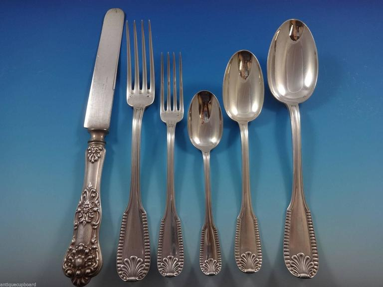 20th Century Kings by Campenhout French Sterling Silver Flatware Set Service 75 PC Fitted Box For Sale