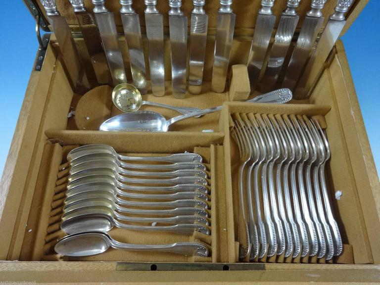 Kings by Campenhout French Sterling Silver Flatware Set Service 75 PC Fitted Box In Excellent Condition For Sale In Big Bend, WI