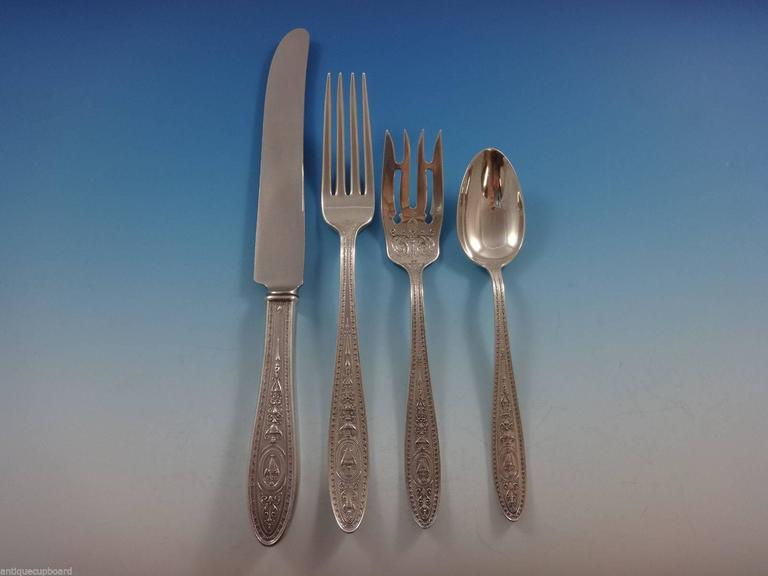 Wedgwood by International Sterling Silver Flatware Service Set 40 Pieces In Excellent Condition For Sale In Big Bend, WI