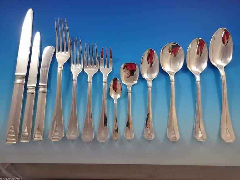 Christofle set. Large fabulous Atlantide by Christofle (France) silver plated dinner flatware set & Atlantide by Christofle Silver Plate Flatware Dinner Service 8 Set ...