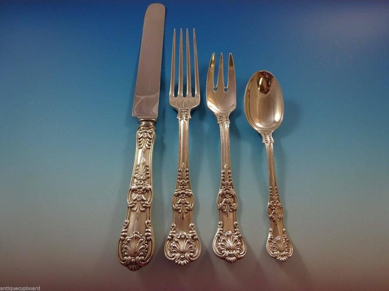 Louis XVI English King by Tiffany Sterling Silver Flatware Set 12 Service Dinner & Lunch For Sale