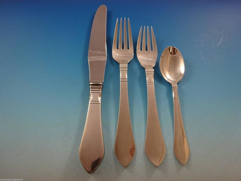 continental by georg jensen sterling silver flatware set service 28 pcs dinner at 1stdibs. Black Bedroom Furniture Sets. Home Design Ideas