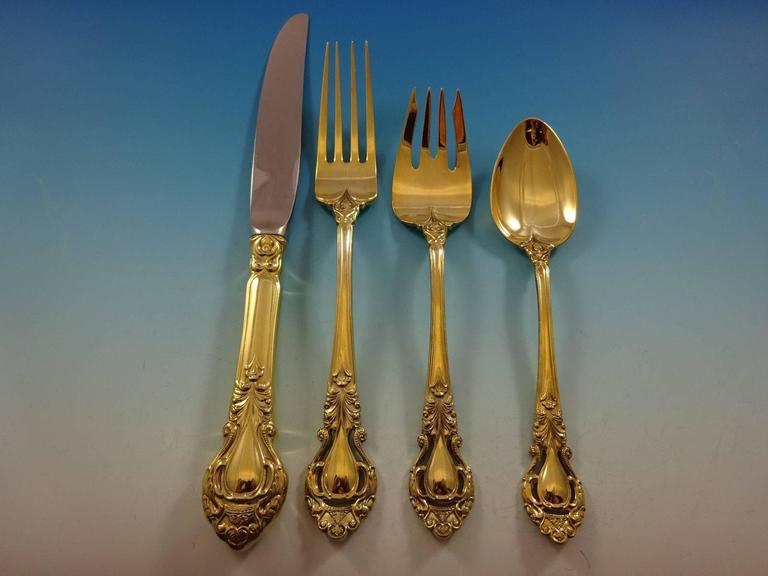 Gorgeous Royal Dynasty Gold by Kirk Stieff sterling silver flatware set of 48 pieces. Gold flatware is on trend and makes a bold statement on your table.   This set is vermeil (completely gold-washed) and includes:   12 knives, 9 1/4
