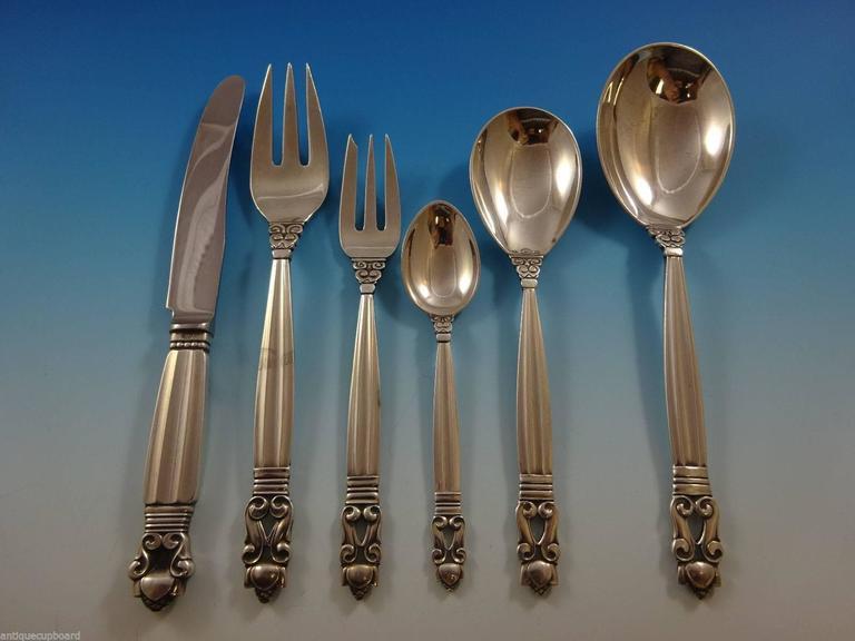 Acorn by Georg Jensen Sterling Silver Flatware Set for 12 Service Dinner Huge 3