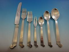 Aztec by Emma Melendez Sterling Silver Flatware Set 8 Service Lunch 62 Pieces