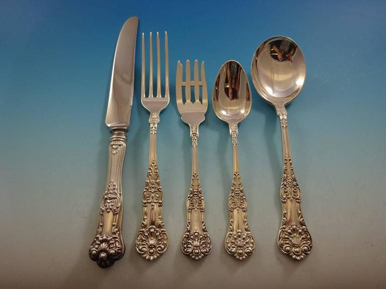 New Kings by Roden Canada Sterling Silver Flatware Set for 8 Service 40 Pcs In Excellent Condition For Sale In Big Bend, WI