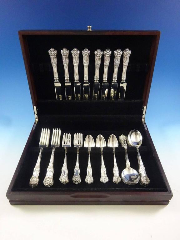 New Kings by Roden (Canada) sterling silver flatware set - 40 pieces. This set includes:  Eight knives, 8 1/2