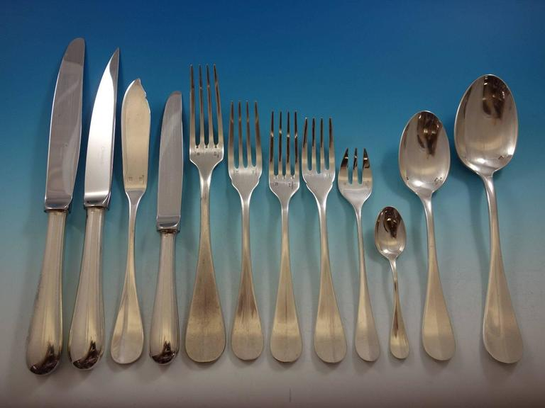 Fidelio by Christofle France Silverplate Flatware Set Service 112 Pieces Huge  In Excellent Condition For Sale In Big Bend, WI
