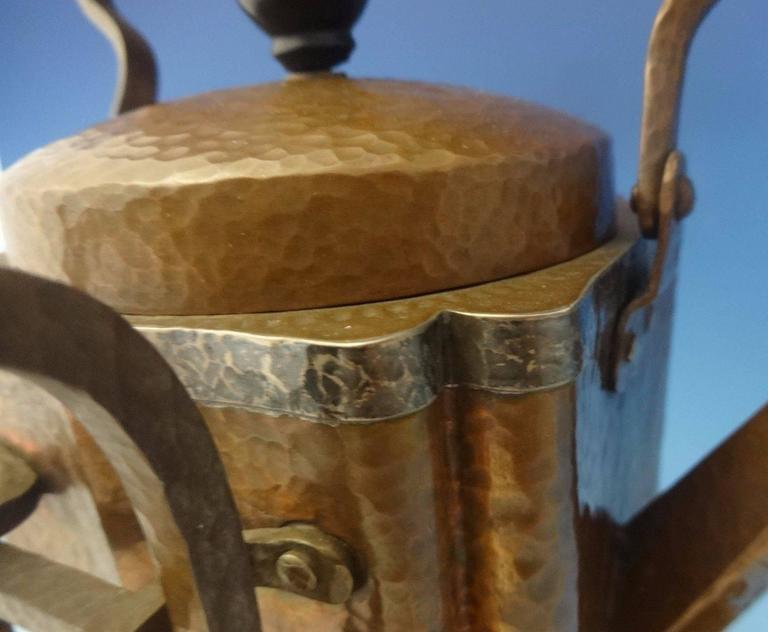 20th Century Joseph Heinrichs Copper Kettle on Stand with Tray Arts & Crafts, Hollowware For Sale