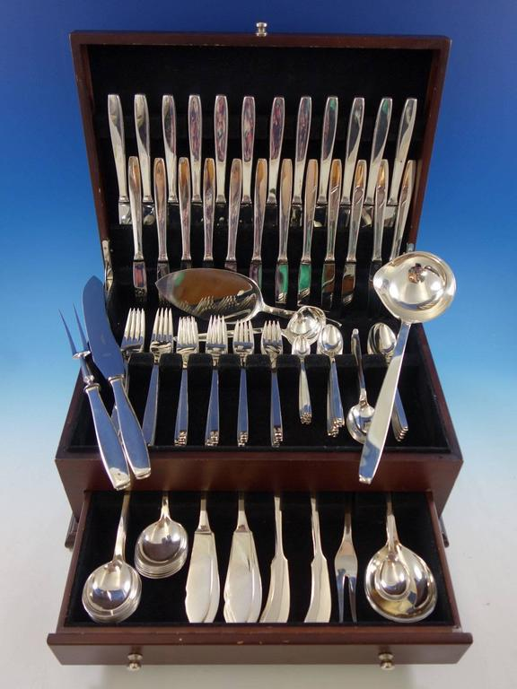 Funkis AKA pattern #29 by Evald Nielsen Danish sterling silver moderne flatware set, 140 pieces. This set includes: 12 dinner knives, 8 3/8