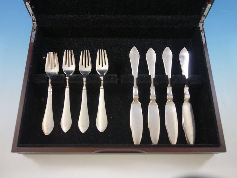 continental by georg jensen sterling silver flatware ind fish set service 16 pc for sale at 1stdibs. Black Bedroom Furniture Sets. Home Design Ideas