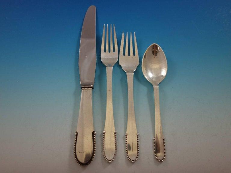 Danish Beaded by Georg Jensen Sterling Silver Flatware Set for 8 Service 72 Pcs Dinner For Sale