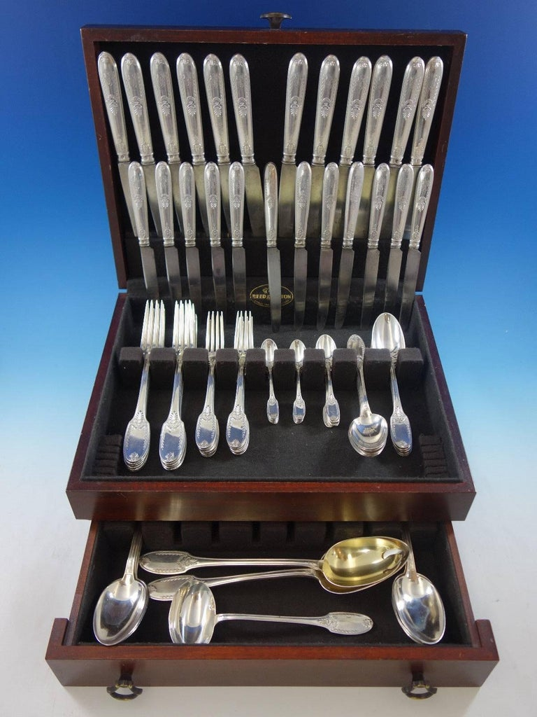 Empire by Olier & Caron, French sterling silver flatware set, 93 pieces. This set includes:   12 dinner size knives, 10 1/4