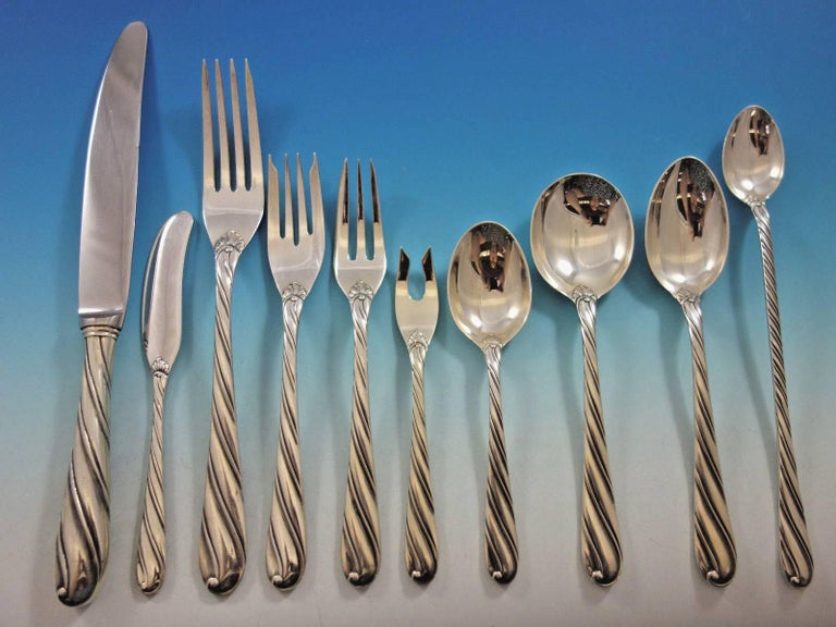4d8d6ee372379 Torchon by Buccellati Sterling Silver Flatware Set for 12 Service 132 Pcs  Dinner In Excellent Condition