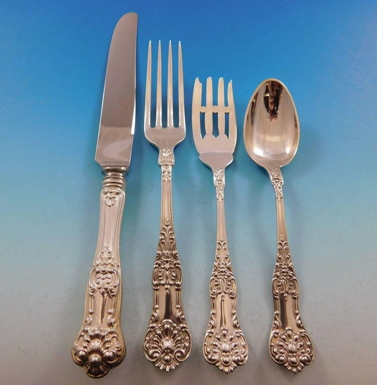 New Kings by Roden Canada Sterling Silver Flatware Set for 8 Service 52 Pc Shell In Excellent Condition For Sale In Big Bend, WI