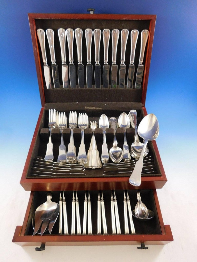Incredible monumental Grandma Milford by Porter Blanchard sterling silver Flatware set with fiddle shaped handle, 124 pieces. This scarce set is handmade and truly a work of art. This set includes:  12 Dinner Size Knives, 9 5/8