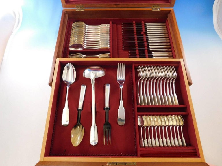 1810 Italian 800 Silver Flatware Set for 12 Service 77 pieces fitted box Dinner For Sale 6