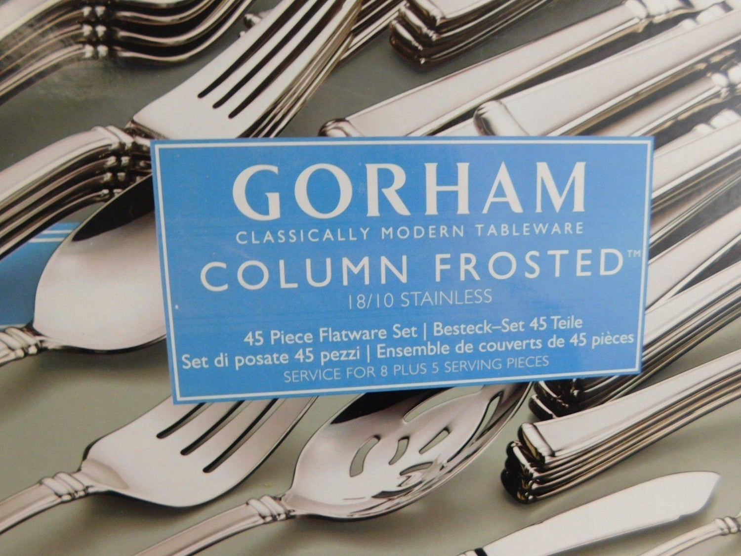 Column Frosted By Gorham Stainless Steel Flatware Set Service 8 New 45 Pieces For At 1stdibs