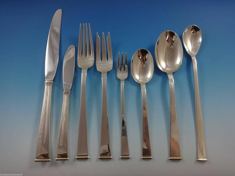 Gold Tip by Gorham sterling silver Mid-Century Modern flatware set with & Gold Tip by Gorham Sterling Silver Flatware Set 101 Pieces ...