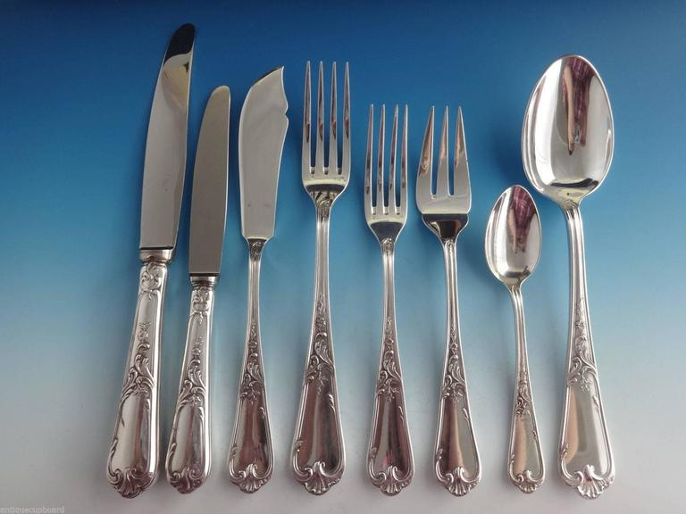 Louis XV by Ercuis French silver plate flatware set, 88 pieces. This set includes: