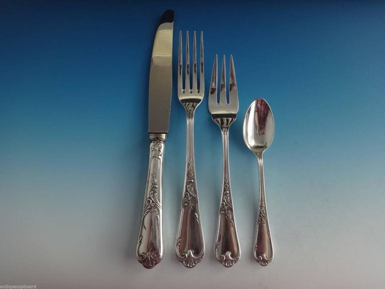 20th Century Louis XV by Ercuis French Silver Plate Flatware Set Service Dinner 88 Pieces For Sale