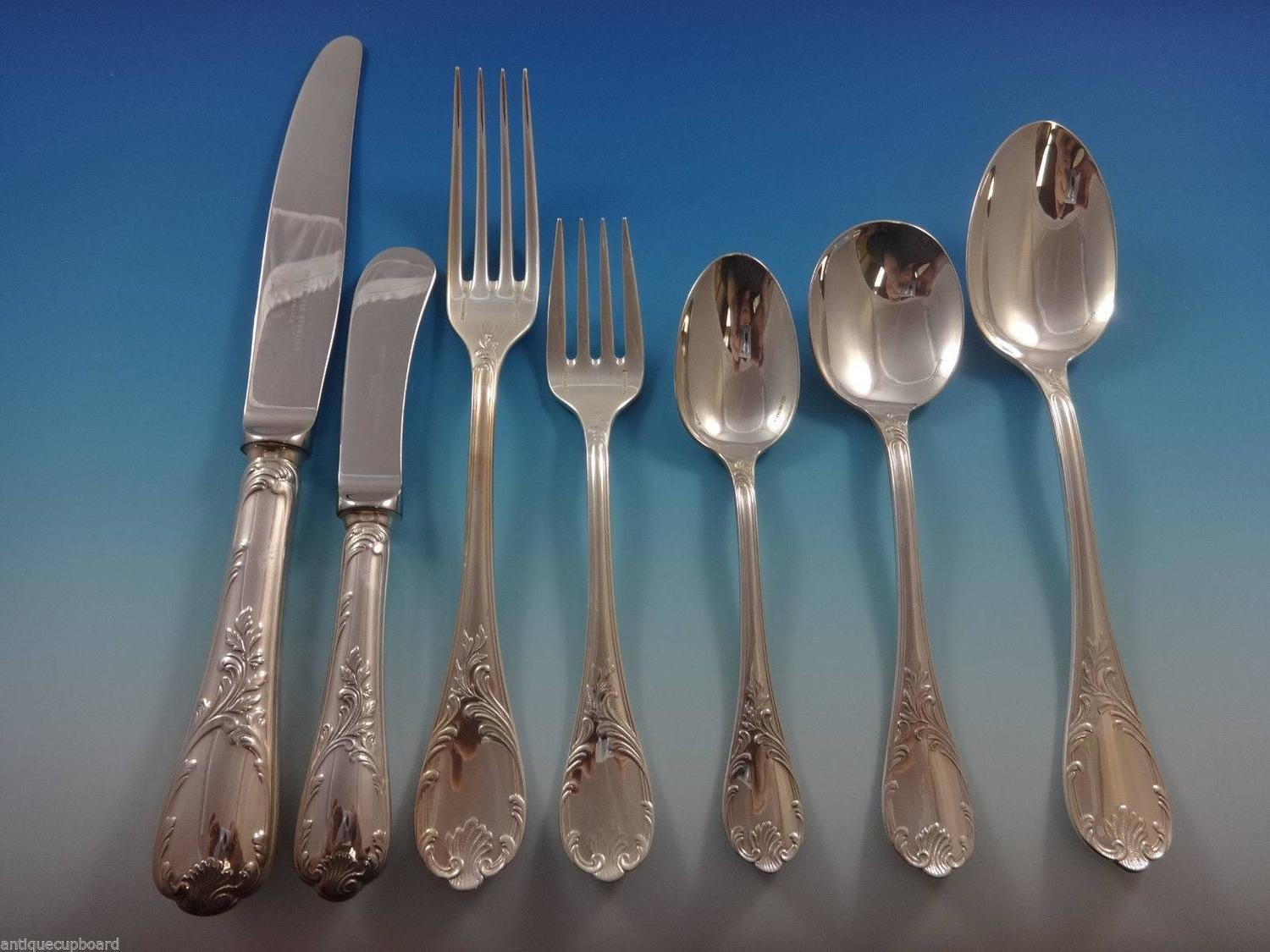 marly by christofle sterling silver flatware dinner service 24 set 159 pieces at 1stdibs. Black Bedroom Furniture Sets. Home Design Ideas
