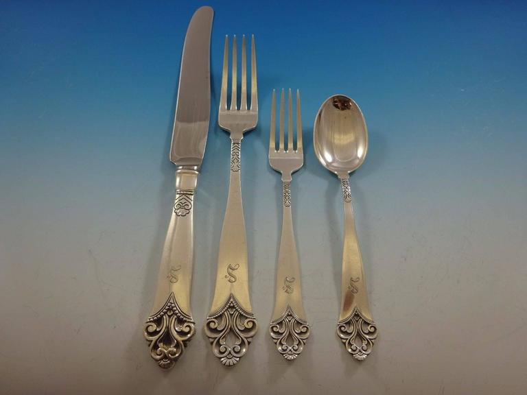 Lillemor by Marthinsen Sterling Silver Flatware Service Dinner Set of 69 Pieces In Excellent Condition For Sale In Big Bend, WI