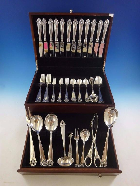 Lillemor by Marthinsen sterling silver dinner size flatware set of 69 pieces. This set includes:  12 dinner size knives, 9 5/8