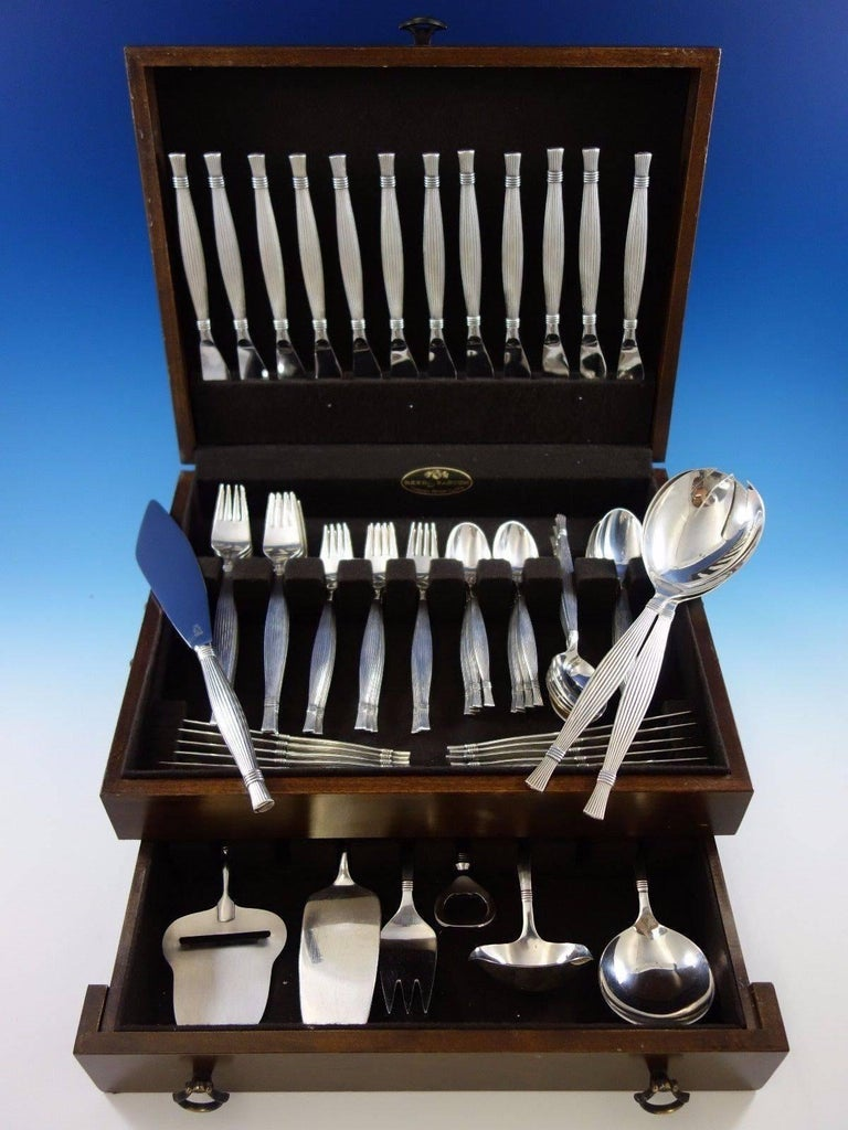 Gitte by Orla Vagn Mogensen Danish sterling silver flatware set, 81 pieces, this set includes: This set includes:   12 dinner knives, 8 3/4
