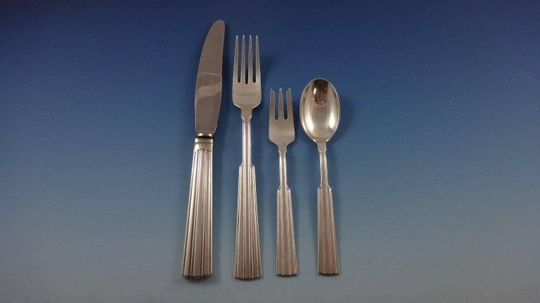 Scandinavian Modern Fontaine by O. Mogensen Danish Sterling Silver Flatware Set Hand-Wrought 36 Pcs For Sale