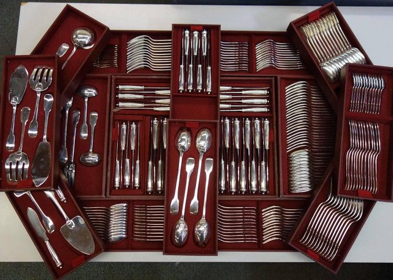 Louis XIV Louvois by Puiforcat Sterling Silver Flatware Set Service France 248 Pieces For Sale