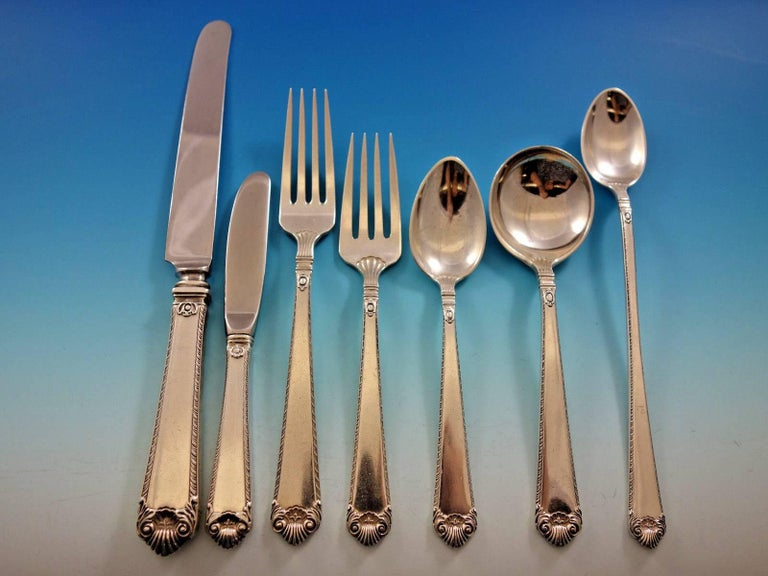 George II Rex by Watson Sterling Silver Flatware Set for 8 Service 58 Pieces For Sale 3