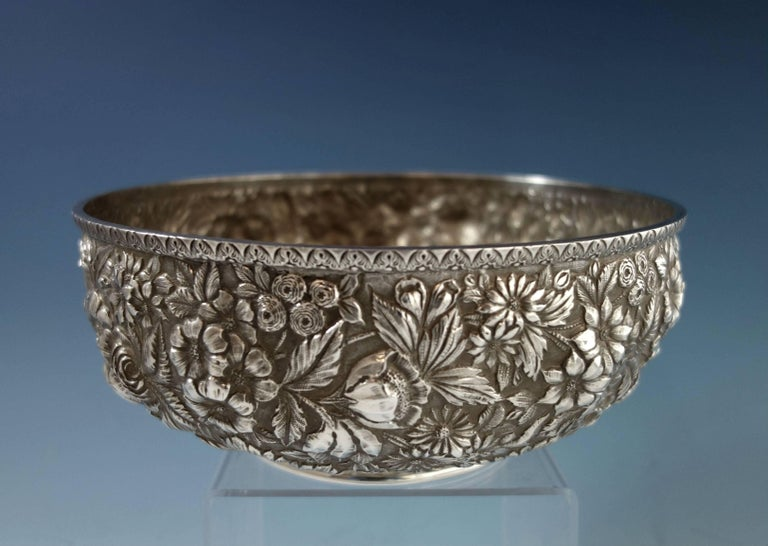 Repousse by Jenkins & Jenkins Sterling Silver Fruit Bowl #188 Hollowware For Sale 4