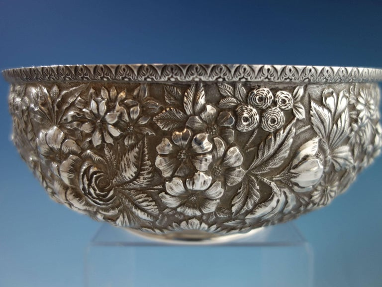 Repousse by Jenkins & Jenkins Sterling Silver Fruit Bowl #188 Hollowware In Excellent Condition For Sale In Big Bend, WI