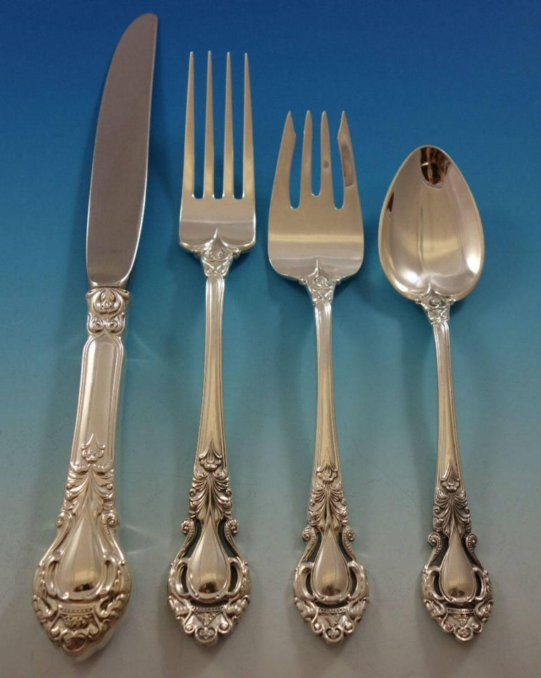Royal Dynasty by Kirk Stieff Sterling Silver Flatware Service Set 46 Pieces For Sale 5