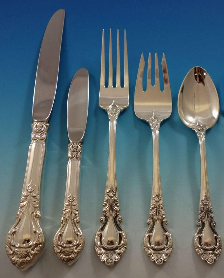 Royal Dynasty by Kirk Stieff Sterling Silver Flatware Service Set 46 Pieces In Excellent Condition For Sale In Big Bend, WI