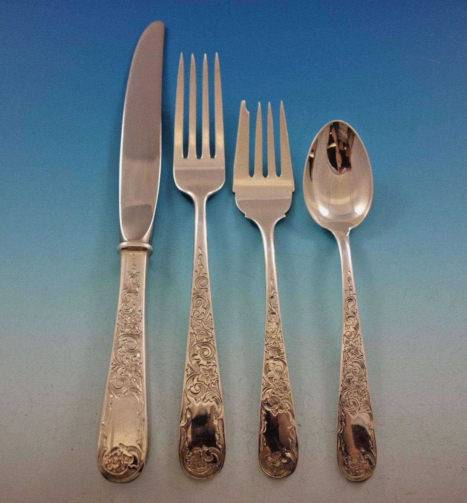 Old Marryland Engraved-Kirk Sterling Large Berry Spoon
