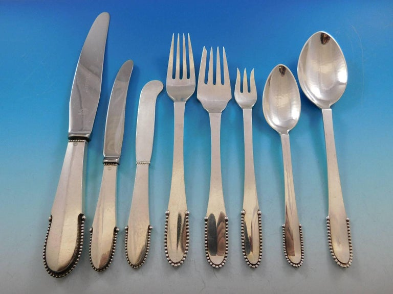 Beaded by Georg Jensen Sterling Silver Flatware Set for 8 Service 64 Pcs Dinner For Sale 1