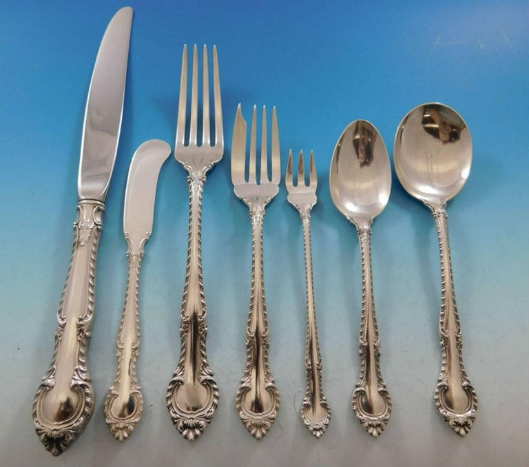 English Gadroon by Gorham Sterling Silver Flatware Set 12 Service 87 pcs Dinner For Sale 2