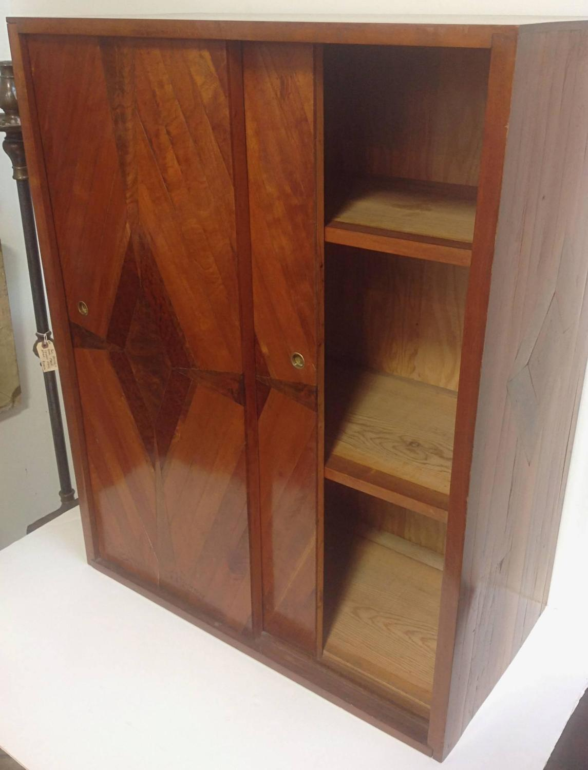 Studio craft parquetry hanging cabinet circa late 1940s for 1940s kitchen cabinets for sale