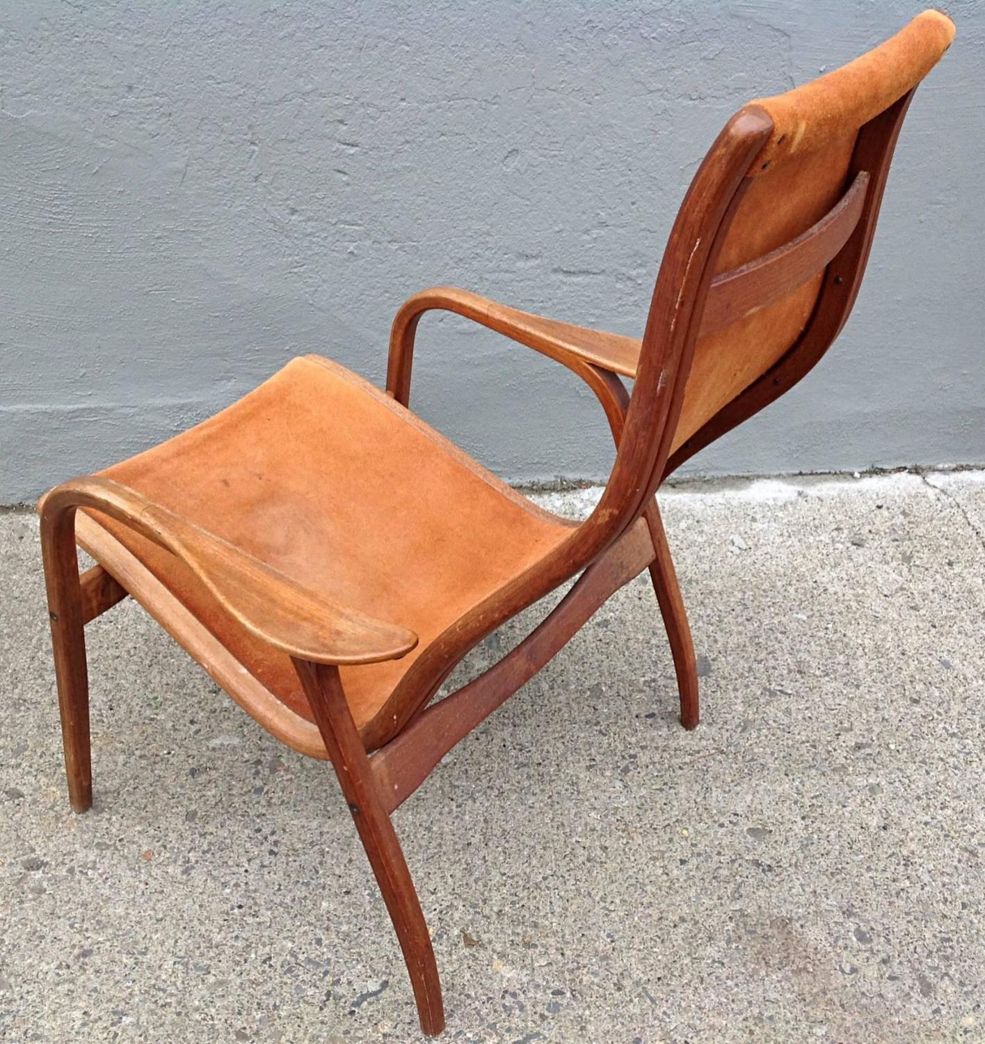 Swedese Lamino Chair in Suede by Yngve Ekström at 1stdibs