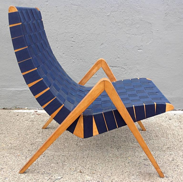 Webbed Scoop Lounge Chair With Compass Legs For Sale At