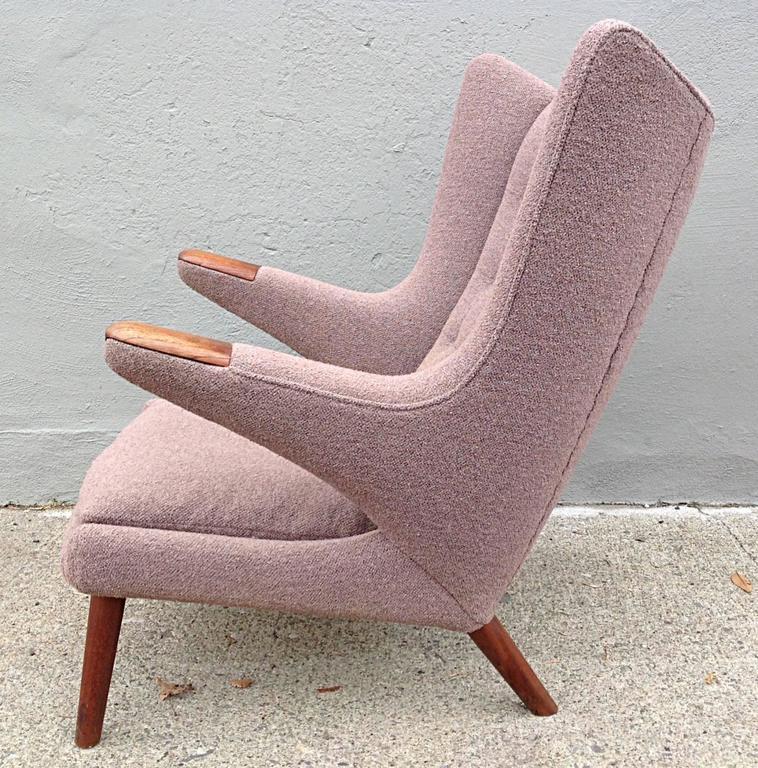 Hans Wegner For AP Stolen Papa Bear Chair AP19. Dusty Lavender Bouclé Not  Original But