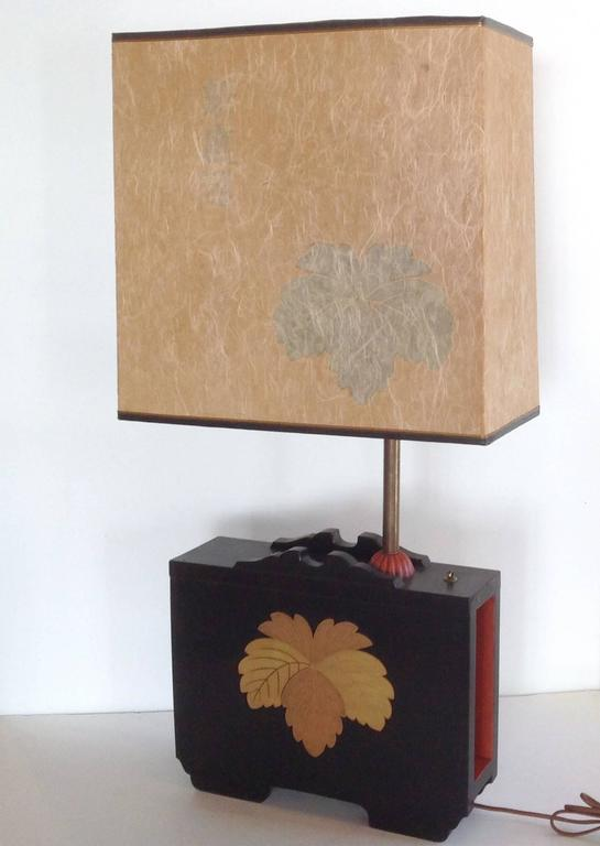 Pair of Art Deco Lacquered Table Lamps in the Japanese Taste 2