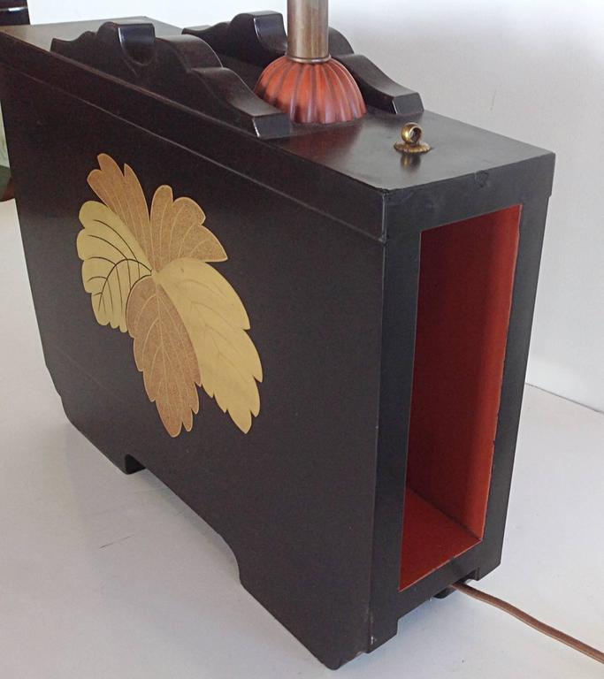 Pair of Art Deco Lacquered Table Lamps in the Japanese Taste 4