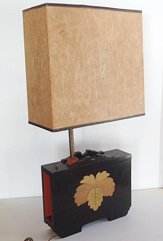 Pair of Art Deco Lacquered Table Lamps in the Japanese Taste 6