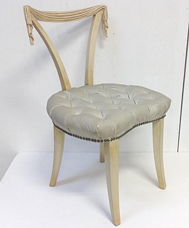 Hollywood Regency Open Back Chair By Grosfeld House. Original Cream Painted  Finish With Honey Over