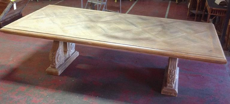 Phyllis Morris Bleached Oak Parquetry Top Double Pedestal Dining Table For Sa