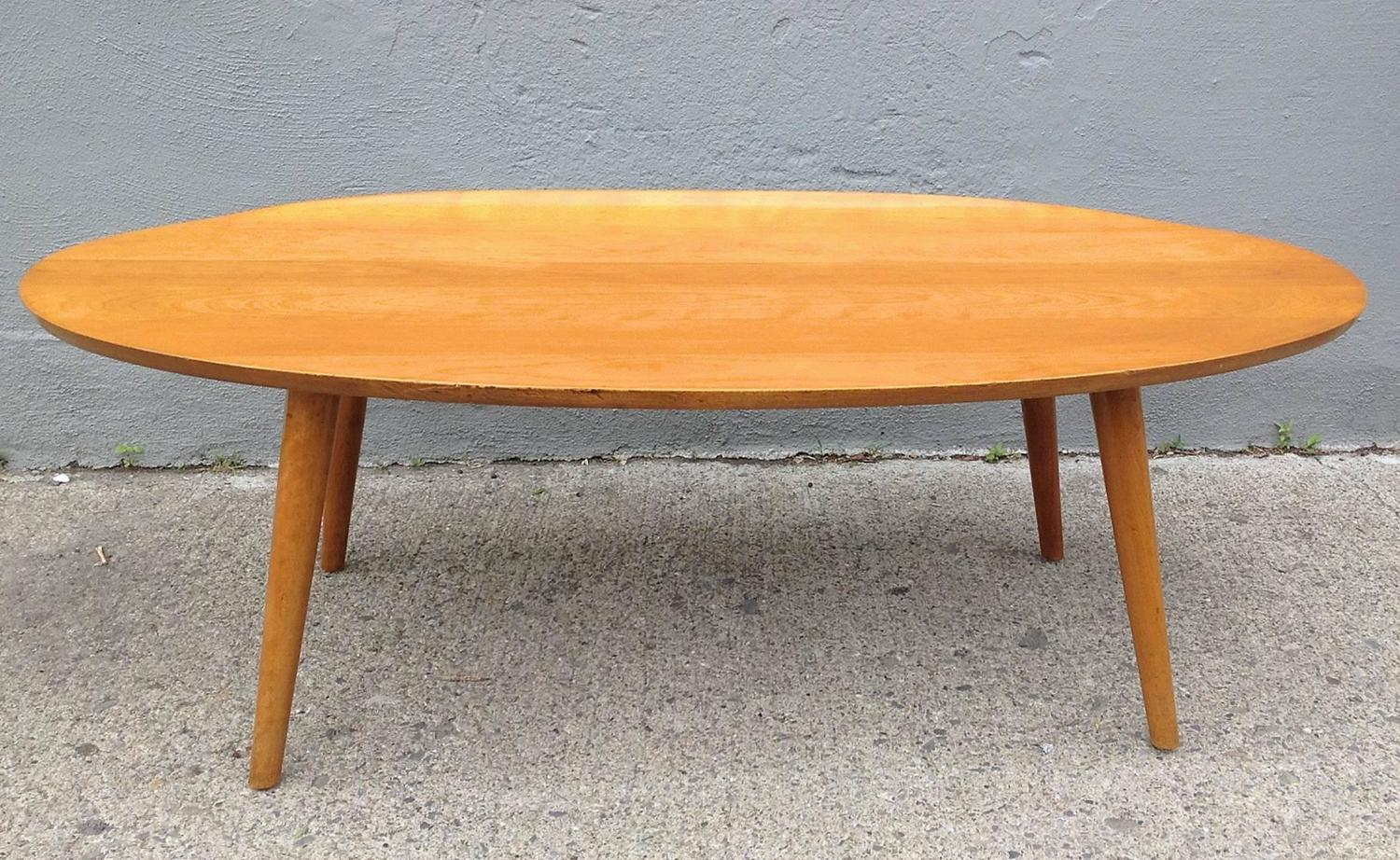 Russel Wright Elliptical Coffee Table With Curled Edge For Sale At